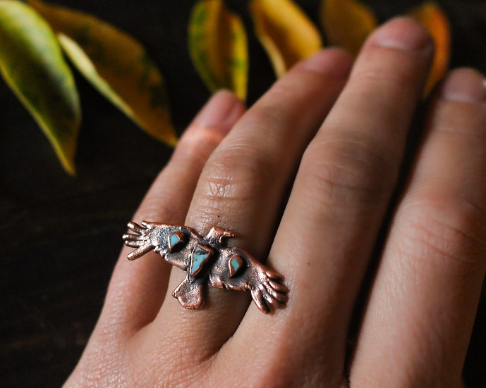 Turquoise Crow ring
