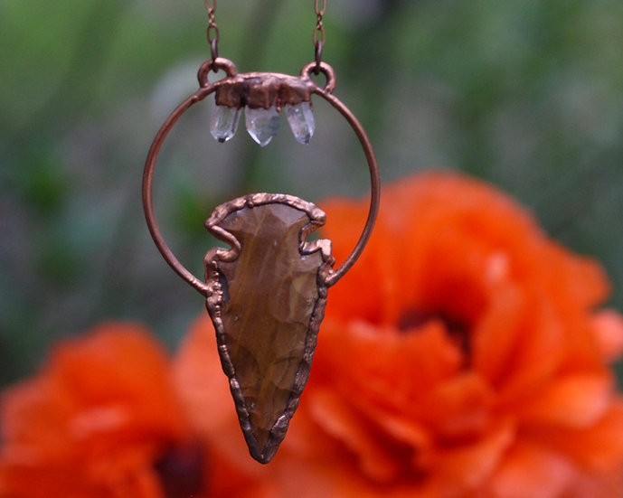 Quartz and Jasper Arrowhead necklace