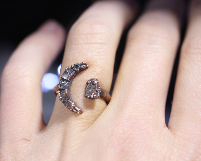 Small Topaz open moon ring