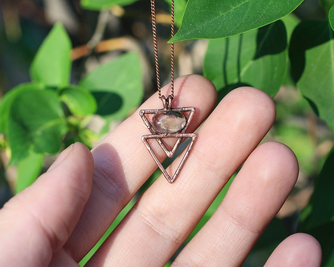 Polished chlorite included Quartz triangle necklace