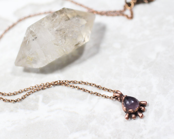 Tiny Amethyst drop cosmic ray necklace