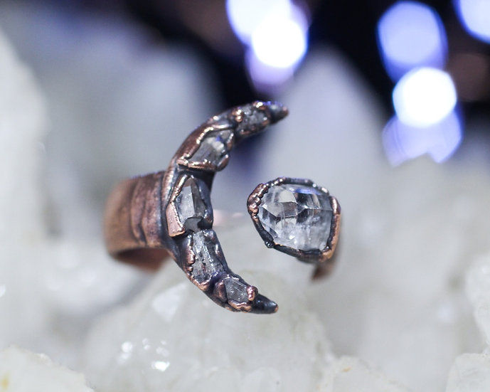 Large Topaz moon ring