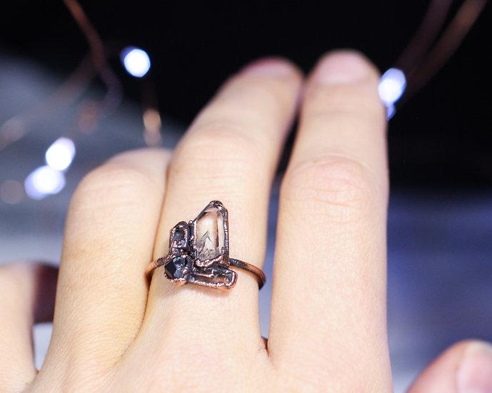 Quartz Garnet Topaz Herkimer Diamond ring