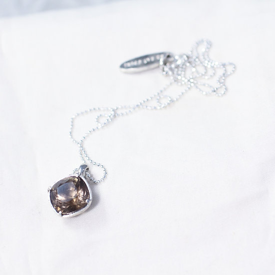 Square cut California Smoky Quartz necklace