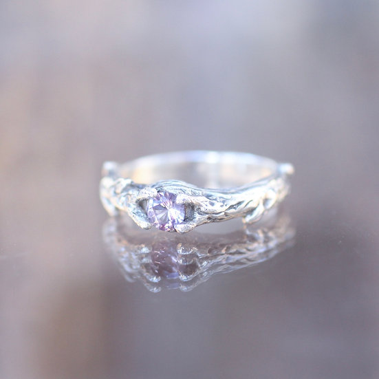 Locally mined Amethyst Tree Branch engagement / wedding ring