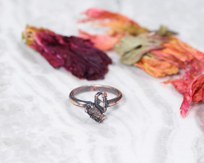 Quartz and Sherry color Topaz ring