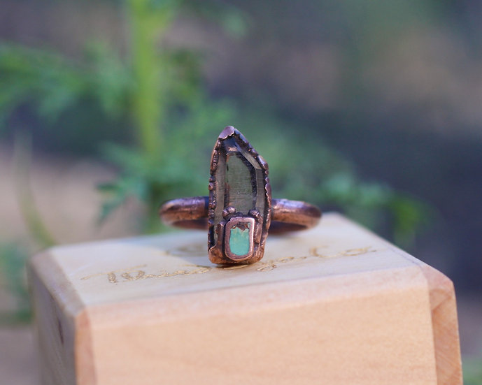 Smoky Quartz and Turquoise ring