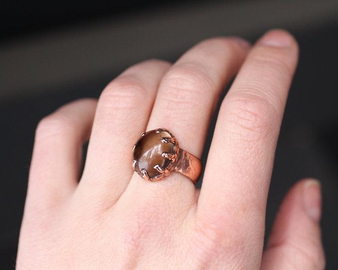 Hand polished Smoky Quartz ring