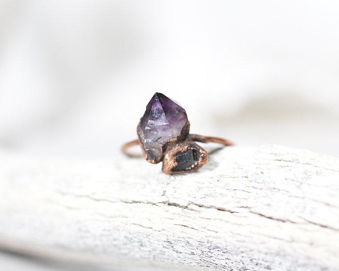 Amethyst and Smoky Quartz ring
