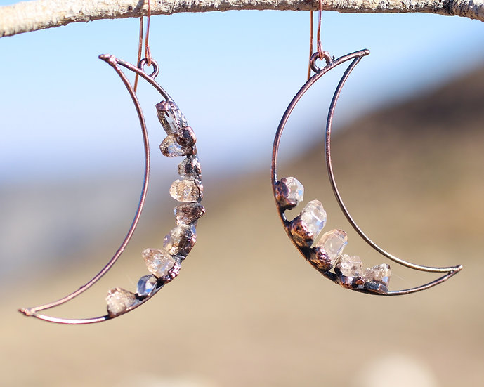 Large Topaz Moon hoops
