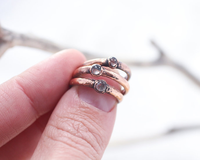Tiny hand polished Quartz rings