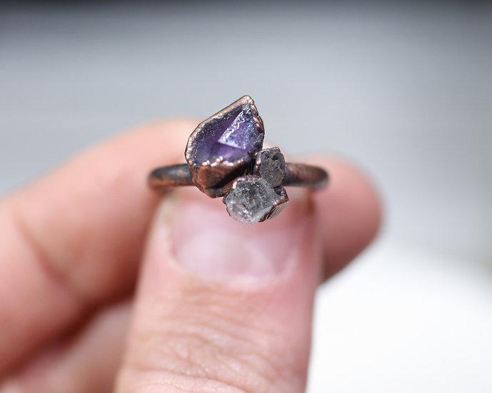 Amethyst and Herkimer Diamond ring