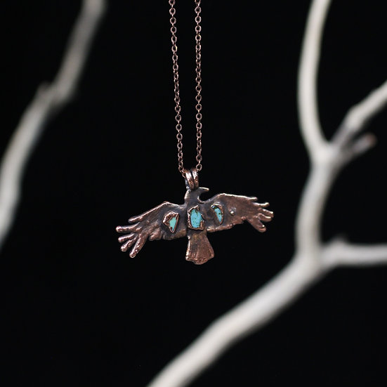 Tiny Turquoise Crow necklace