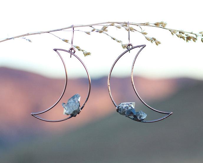 Large Herkimer Diamond moon hoops