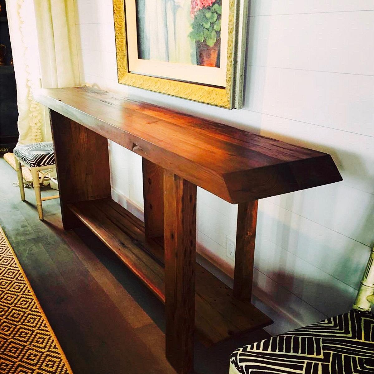 Reclaimed heart pine console table, handmade in Charleston, SC. - Salt Wood Co. - Custom Reclaimed Wood Furniture In Charleston, SC