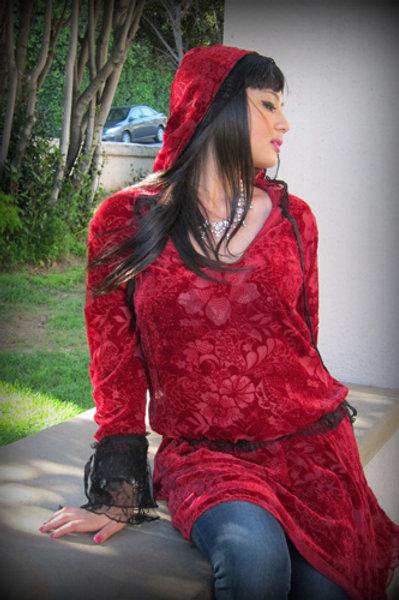 Velvet Hood Dress (Floral)