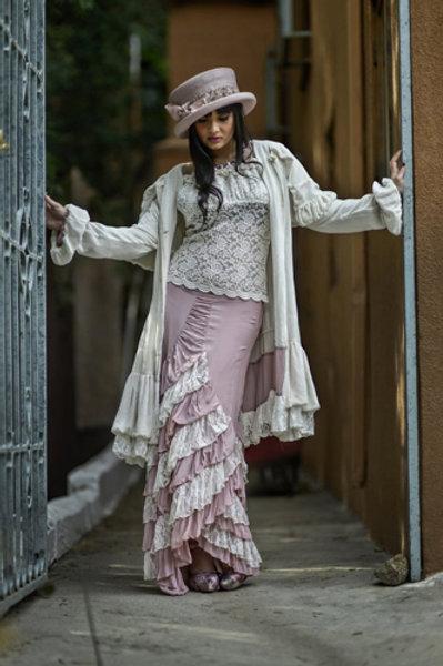 Zorro Skirt Lace T & Victorian Western Coat