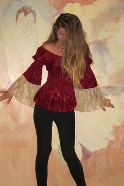Peasant Top with Lace SLV