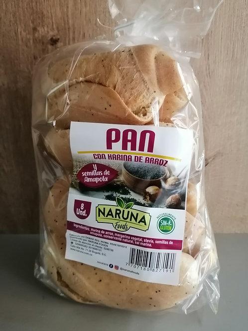 Pan con harina de arroz 8 unidades