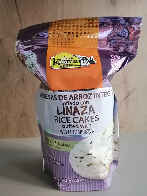 Galletas de arroz integral con linaza.