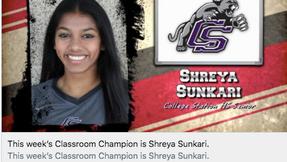 Shreya Sunkari Classroom Champion