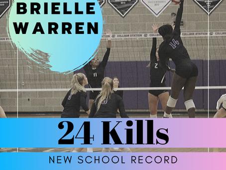 Brielle Warren sets school record!
