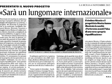 """PRESENTAZIONE PROGETTO RIQUALIFICAZIONE LUNGOMARE """"RIVIERA LANTERNA"""" DI SCOGLITTI (RG)"""
