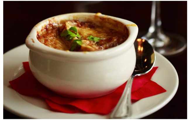 The French onion soup at West Seattle's Maree Bistro (Erika Schultz/ The Seattle Times)