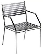thumbnail of metal dining chair with armrests