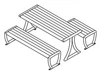 line drawing of picnic table set ada version