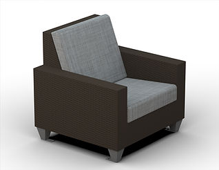 rendering of wicker lounge seat white background