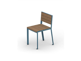 rendering of wood and metal dining chair