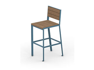 rendering of wood and metal barstool