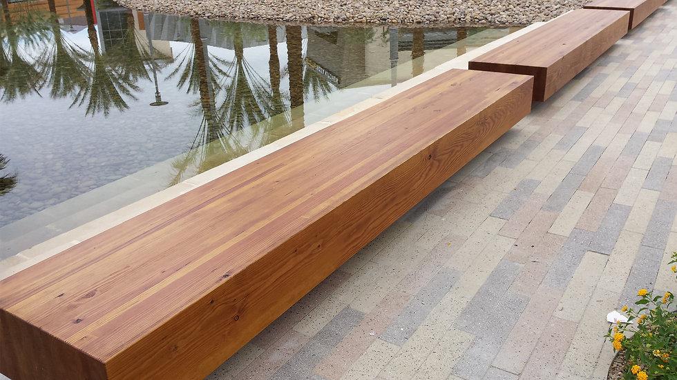 summerlin wood modern benches beside water outdoors