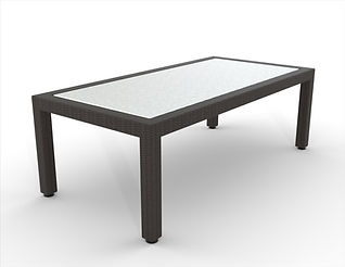 rendering of a wicker coffee table white background
