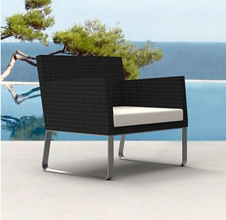 rendering of wicker lounge chair at the beach