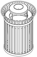 perspective line drawing of litter receptacle