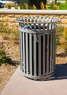 metal litter receptacle trashcan outdoors