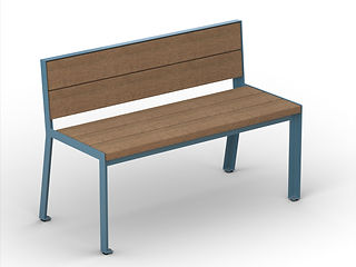 rendering of wood and metal bench