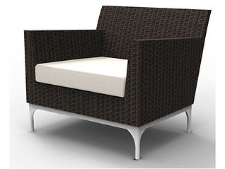 rendering of wicker lounge chair white background