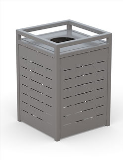rendering of metal litter receptacle white background
