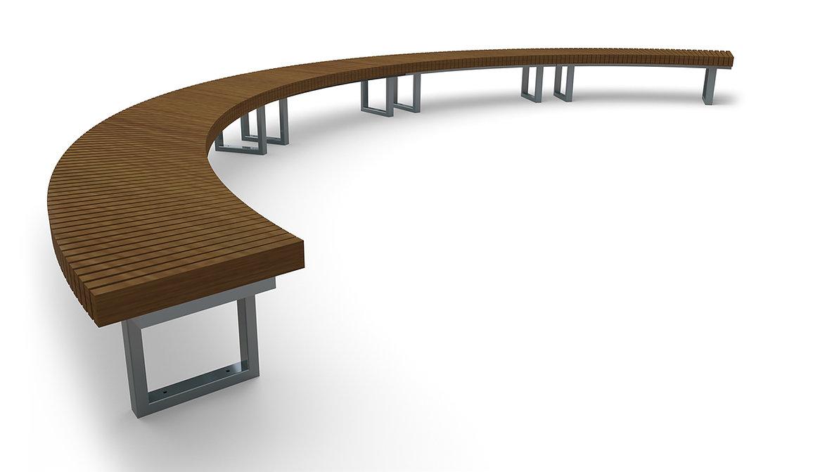 rendering of Element radius bench white background