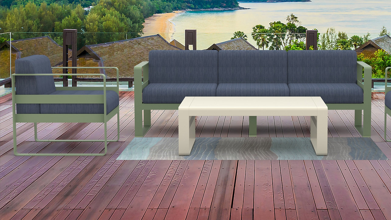 rendering of lounge furniture outside on patio