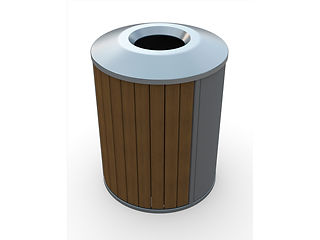 rendering of wood and metal litter receptacle with shadows on a white background