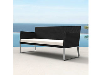 rendering of wicker love seat at the beach
