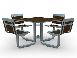 rendering of wood and metal picnic table set with shadows on a white background