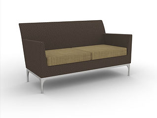rendering of wicker love seat white background