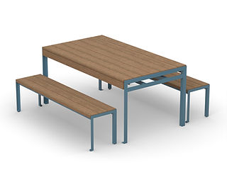 rendering of wood and metal picnic table