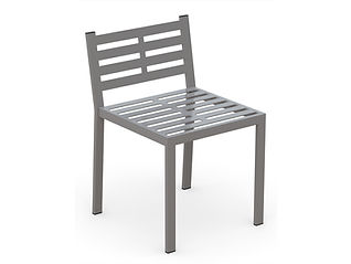 rendering of metal dining chair with white background