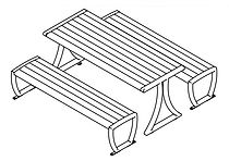 line drawing of picnic table set